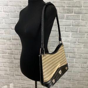 unbranded Bags - Tan rattan weave & black medium hearts purse bag